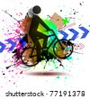 dirty bike - stock vector