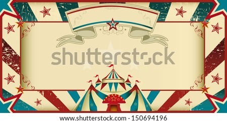 dirty circus invitation. An invitation card for your circus company. - stock vector