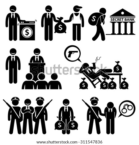Dirty Money Laundering, Illegal Activity, Politic Crime, Stick Figure Pictogram Icons - stock vector