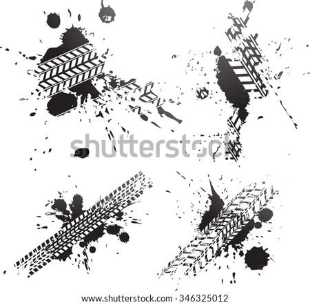 Dirty road paint splat tire tracks - stock vector