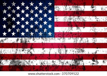 dirty worn flag of the USA - stock vector