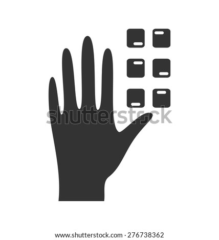 Disability pictogram braille flat icon hand isolated on white background - stock vector