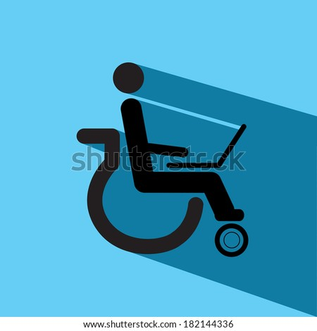 disable man with laptop vector
