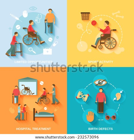 Disabled flat icons set with limited opportunities sport activity hospital treatment birth defects isolated vector illustration - stock vector