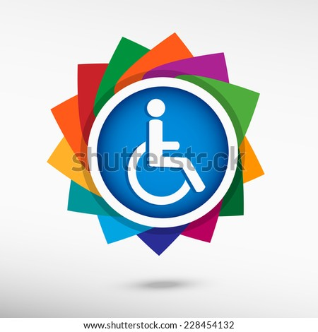 Disabled Handicap icon. Flat design style  - stock vector