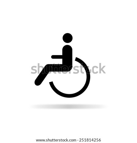 disabled icon - black vector illustration - stock vector