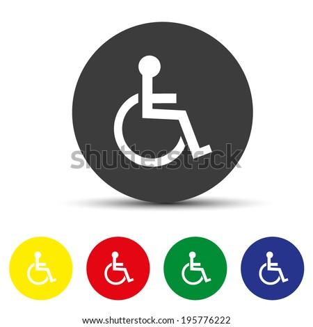 Disabled icon. Human on wheelchair symbol. Handicapped invalid sign. Round colourful buttons. Vector - stock vector