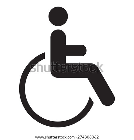 Disabled icon sign, black isolated on white background, vector illustration. - stock vector