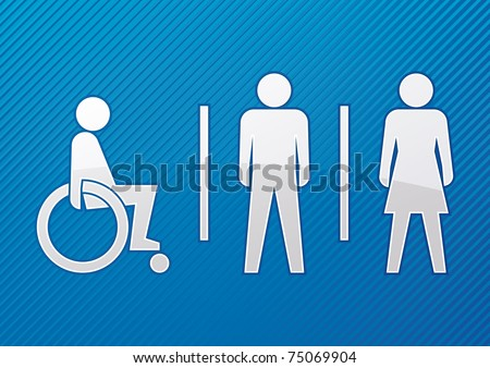 Disabled, male and female toilet sign with blue background - vector