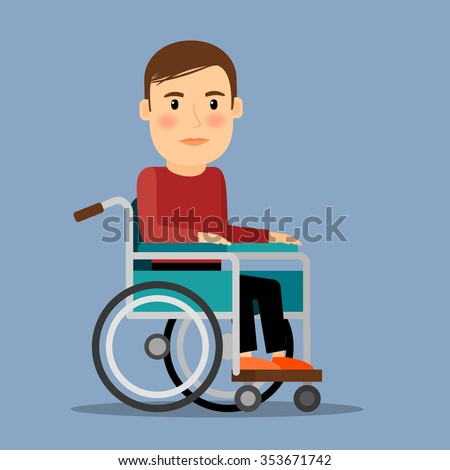 Disabled man sitting in wheel chair. Recovery period. Vector illustration.  - stock vector