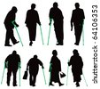 Disabled old people vector illustration collection. - stock vector