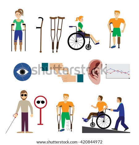 Disabled people care help assistance and accessibility icons set isolated vector illustration. - stock vector