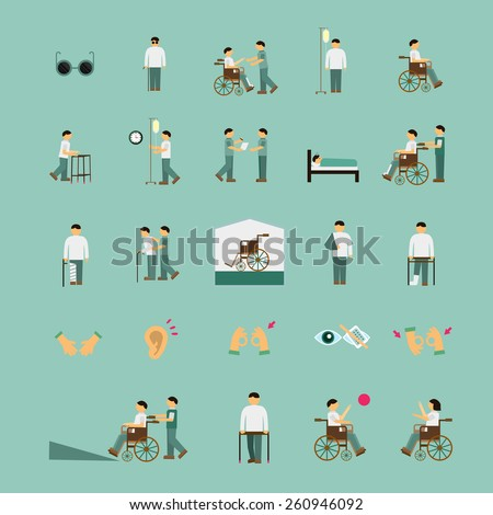 disabled people care help flat icons set over turquoise background - stock vector