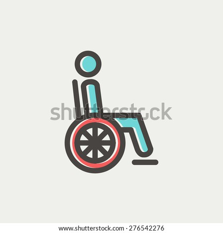 Disabled person icon thin line for web and mobile, modern minimalistic flat design. Vector icon with dark grey outline and offset colour on light grey background. - stock vector