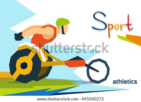 Disabled Race Athlete Wheel Chair Sport Competition Flat Vector Illustration - stock vector