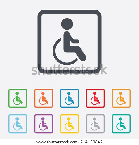 Disabled sign icon. Human on wheelchair symbol. Handicapped invalid sign. Round squares buttons with frame. Vector - stock vector