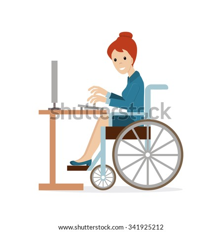 Disabled young business woman in wheelchair working with computer at the table. Flat vector character in isolated background. Concept for lifestyle and opportunities for people with disability. - stock vector