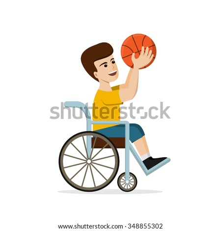 Disabled young man in a wheelchair playing basketball. Vector illustration of handicapped player holding a ball in hands. Flat design. Concept for sport, summer paralympic games, recovery. - stock vector