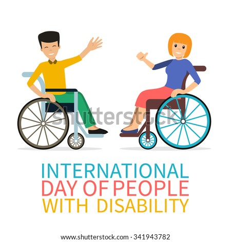 Disabled young people - woman and man in wheelchair - smiling and welcoming. Flat characters in isolated background. Concept for World Disability Day.Vector. - stock vector