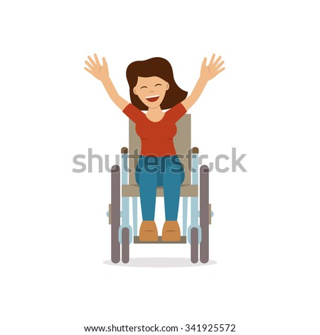 Disabled young woman in wheelchair smiling and holding up her hands. Flat vector character in isolated background. Concept for lifestyle and adaptation for people with disability. - stock vector
