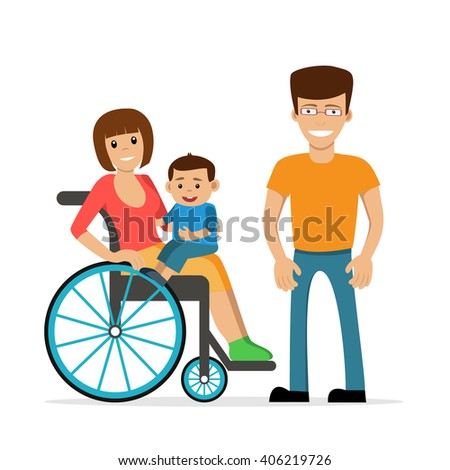 Disabled young woman in wheelchair with her son and husband. Flat vector characters in isolated background. Concept for happy family,  lifestyle and opportunities for people with disability. - stock vector