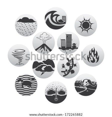 Disaster  black and white icons set  - stock vector