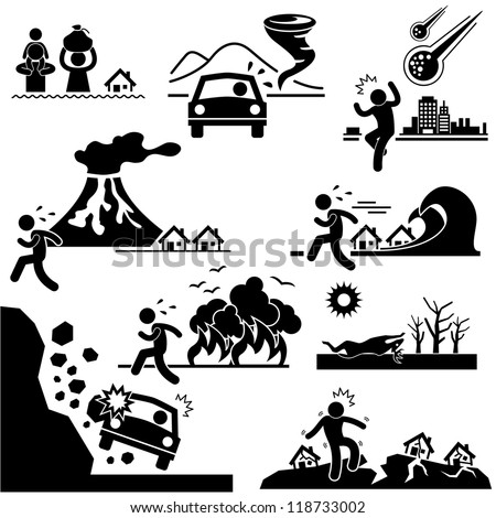 Disaster Doomsday Catastrophe Flood Tornado Meteor Volcano Tsunami Forest Fire Droughts Soil Erosion Landslide Earthquake Stick Figure Pictogram Icon - stock vector