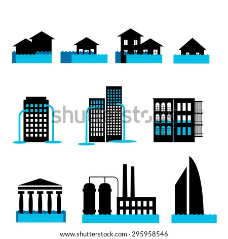 Disaster icon collection flood or vector set - stock vector