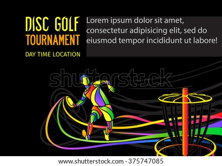 Disc golf sport flying disc invitation stock vector 2018 375747085 disc golf sport flying disc invitation poster or flyer background with sportsman silhouette and empty stopboris Choice Image