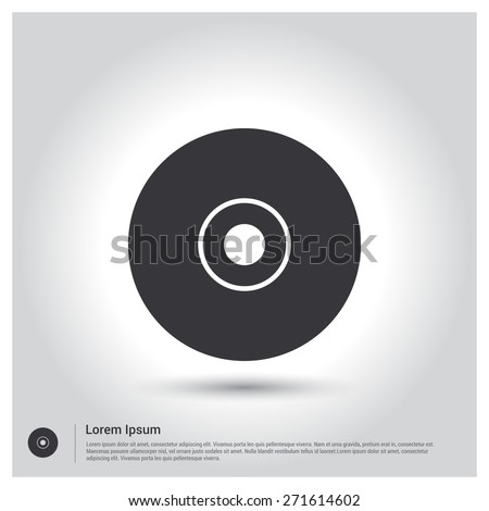 disc icon, DVD Icon. CD Icon. pictogram icon on gray background. Vector illustration for web site, mobile application. Simple flat metro design style. Outline Icon. Flat design style - stock vector