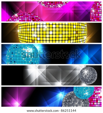 Disco and Nightclub/  set of 5 banners / vector eps10 - stock vector