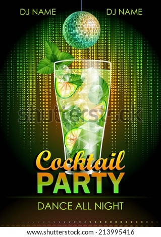 Disco background. Cocktail party poster - stock vector