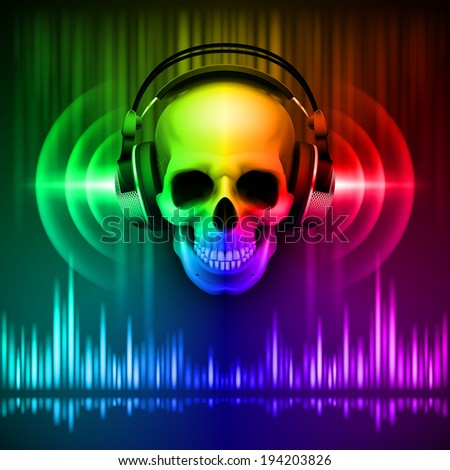 Disco background with skull in headphones, equalizer in spectrum colors - stock vector