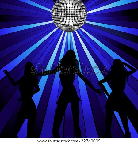 Disco background with three silhouette women dancing under a disco ball