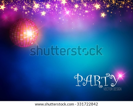 Disco Ball. Abstract Party & Show  Background. Magic Blur Background with Lights. Vector illustration - stock vector