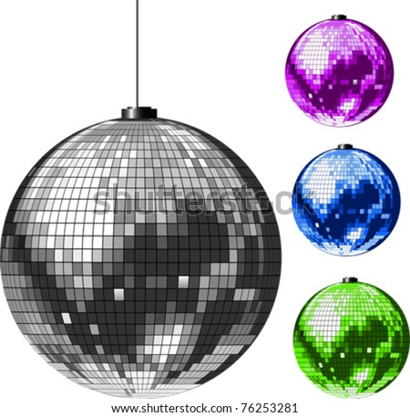 Disco Ball. All elements and textures are individual objects. Vector illustration scale to any size. - stock vector