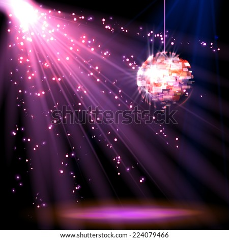 Disco ball background with light, vector - stock vector