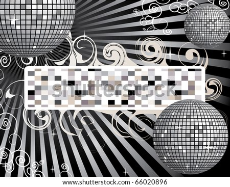 Disco ball background with place for your text - stock vector