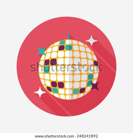 Disco ball flat icon with long shadow,eps10 - stock vector