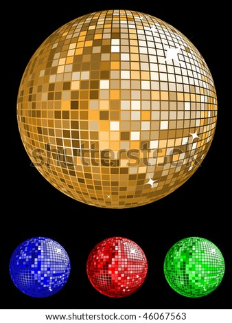 disco ball in various colors vector illustration - stock vector