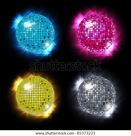 Disco Ball Set with different colors /  vector  / eps10 - stock vector