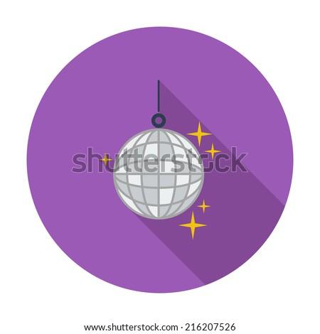 Disco ball. Single flat color icon. Vector illustration. - stock vector