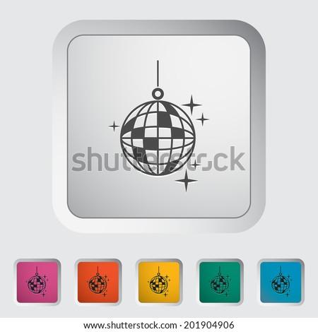 Disco ball. Single flat icon on the button. Vector illustration. - stock vector