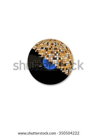 Disco Ball With Record - stock vector