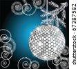 Disco ball with silver fur tree - stock vector