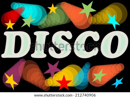 Disco billboard with rainbow neon lights and stars - stock vector