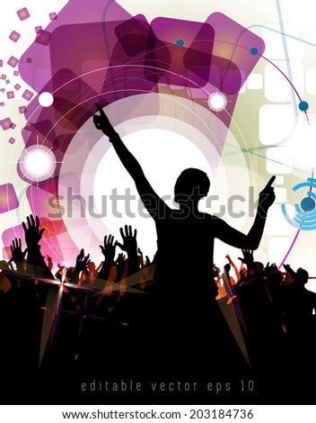 Disco club. Dancing people. Vector illustration - stock vector
