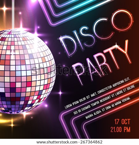 Disco dance party poster with glass ball decoration vector illustration - stock vector