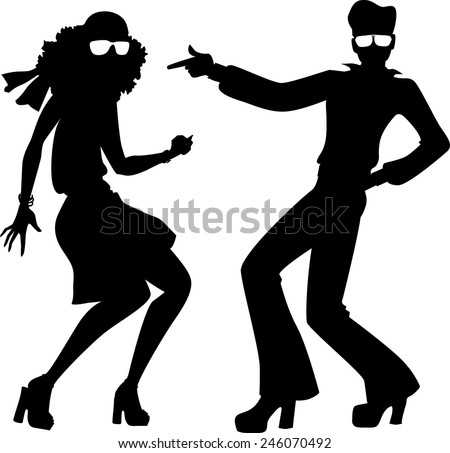 Disco dancers silhouette - stock vector