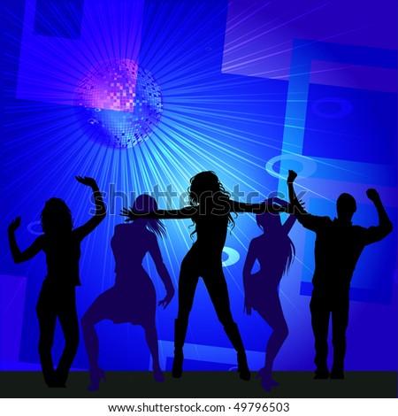Disco Dancers- Vector - stock vector